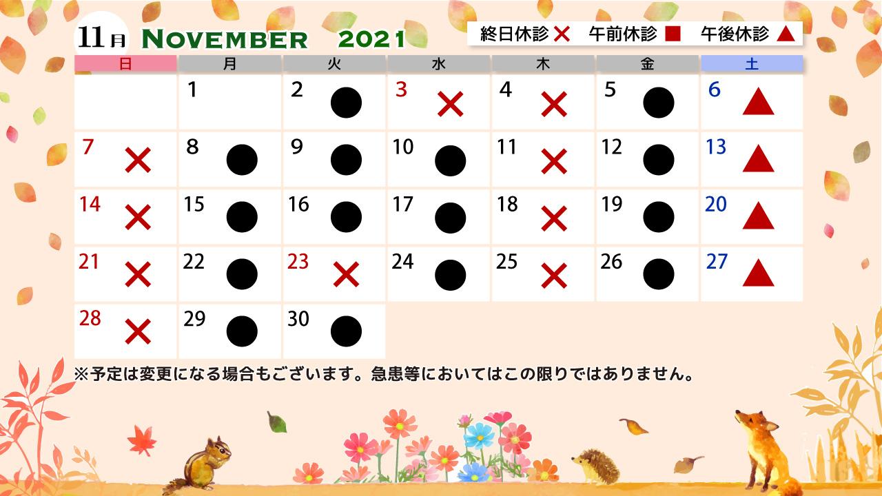 【画像】みやもと眼科医院診療カレンダー202111
